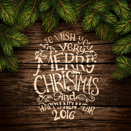 Wooden background with painted holiday typography and Christmas fir tree. Vector illustration
