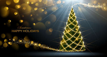 green card: Shining Christmas tree on dark background with bokeh effect.  Vector Illustration