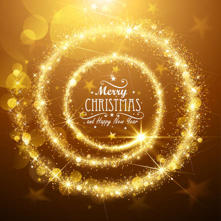 Christmas background with gold magic star. Vector illustration Ilustrace