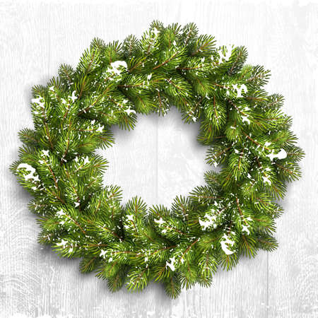Christmas wreath in snow on white wooden background. Vector Illustration Vectores