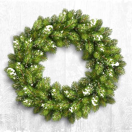 Christmas wreath in snow on white wooden background. Vector Illustration Stock Illustratie