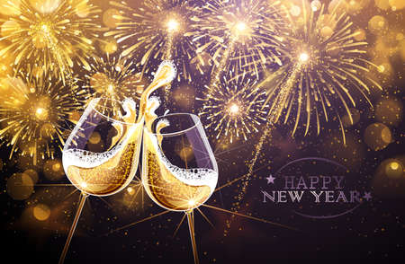holiday party background: New Year fireworks and champagne glasses. Vector