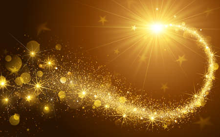 Christmas background with gold magic star. Vector illustration Çizim