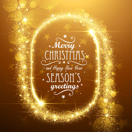 to black: Christmas Frame background with gold magic stars. Vector illustration Illustration