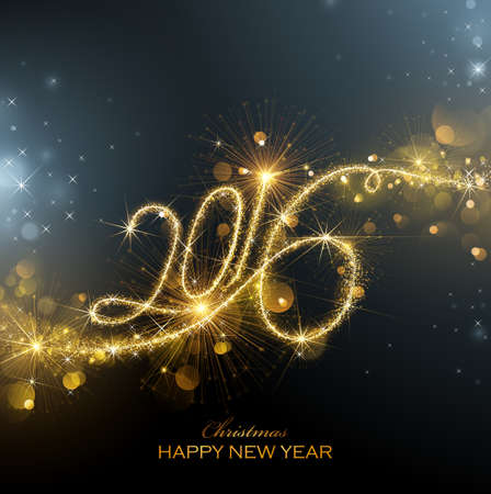 New Year fireworks and confetti 2016. Vector illustration. Vectores