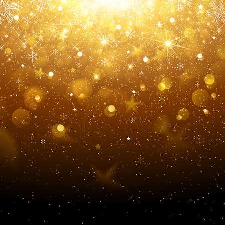Fundo do Natal do ouro com flocos de neve e neve. ilustração vetorial Ilustração