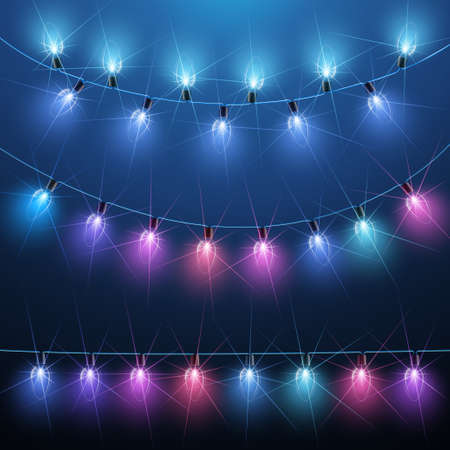 fairy: Collection of Christmas lights on blue background. Vector illustration