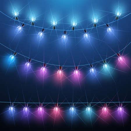 Światła: Kolekcja Christmas lampki na niebieskim tle. ilustracji wektorowych