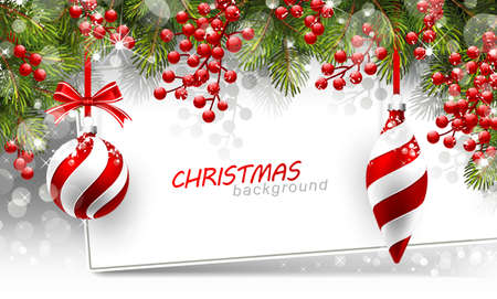december: Christmas background with fir branches and red balls with decorations.  Vector illustration