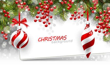 diciembre: Fondo de Navidad con ramas de abeto y bolas de color rojo con decoraciones. Ilustración vectorial