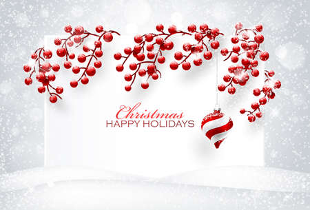 Christmas decorations on white background. Vector illustration  イラスト・ベクター素材