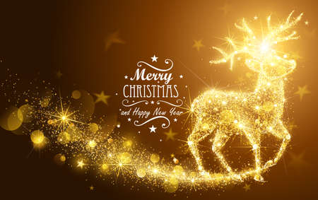 golden star: Christmas card with silhouette Magic Deer and flickering lights. Vector illustration Illustration