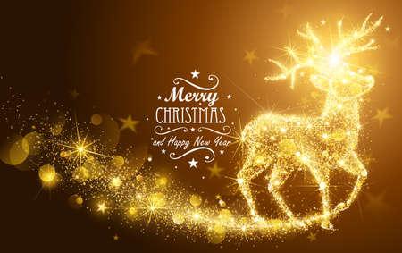 magia: Tarjeta de Navidad con la silueta de la magia de los ciervos y las luces parpadeantes. Ilustración vectorial Vectores