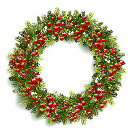 isolated  on white: Christmas wreath with red berries and snow isolated on white background. Vector illustration