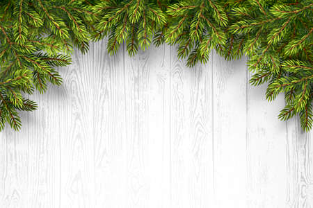 wood frame: Christmas wooden background with fir branches. Vector illustration