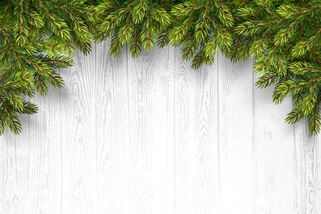 marco madera: Fondo de madera de Navidad con ramas de abeto. Ilustraci�n vectorial