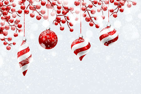 red and white: Christmas decoration with snow and bokeh effect. Vector illustration