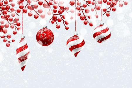 adornos navide�os: Decoraci�n de Navidad con la nieve y el efecto bokeh. Ilustraci�n vectorial