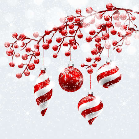 christmas holiday: Christmas decoration with snow and bokeh effect. Vector illustration
