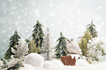 christmas owl: Winter forest landscape with owl and snow. Christmas background