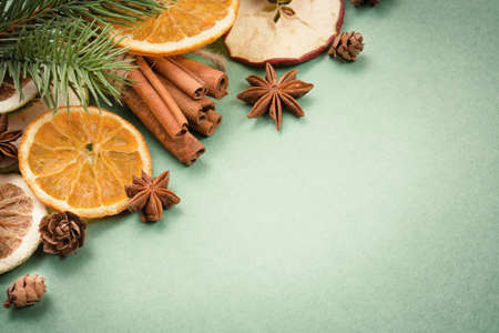 festive food: Sweets cinnamon dried fruit and cloves. Traditional Christmas spices
