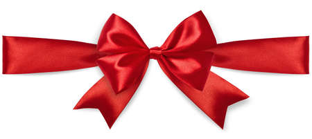 satin: Red satin bow isolated on white background Stock Photo