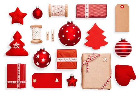 christmas isolated: Christmas decorations set isolated on white Stock Photo