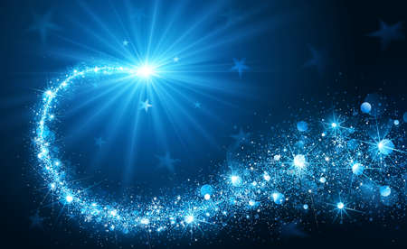 Christmas background with blue magic star. Vector illustration