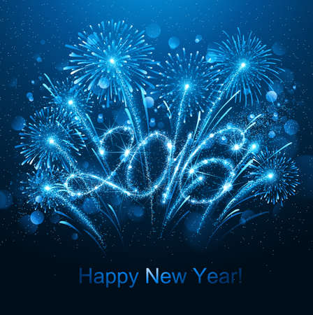 fireworks show: New Year fireworks and confetti 2016. Vector illustration