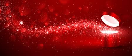 赤の背景の星の流れとクリスマス マジック ボックス  イラスト・ベクター素材