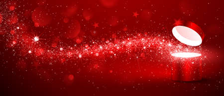 present presentation: Christmas magic box with stream of stars on red background