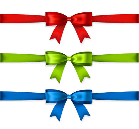 mesh: Set of colored ribbons isolated on white background. Vector