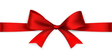 red ribbon bow: Red satin bow isolated on white background. Vector
