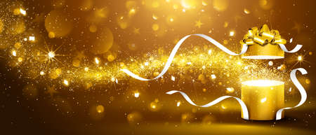 Christmas background with open golden box with stars and confetti. Vector