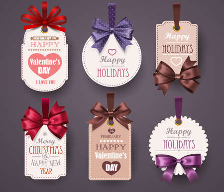 sticker: Set Retro Labels with bows and shadow on gray background. Vector illustration