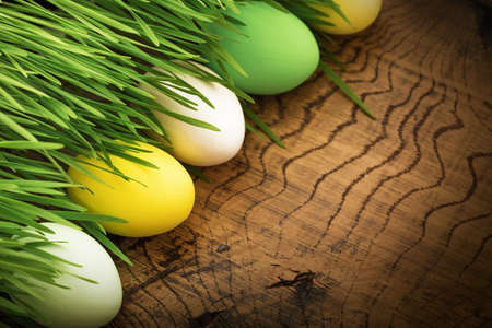 wood grass: Easter eggs with green grass on wood background