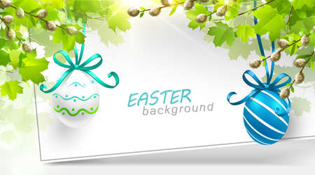 fresh leaf: Spring decoration with leaves and eggs. Vector illustration