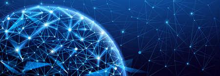 Globalne połączenie sieciowe. Świat punkt na mapie, międzynarodowe znaczenie Ilustracje wektorowe