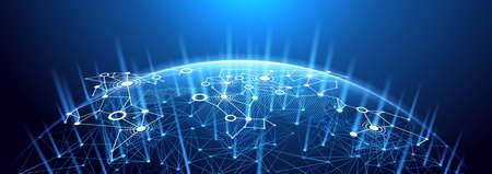 Globales Netzwerk Hintergrund. Weltkarte Punkt, internationale Bedeutung. Illustration