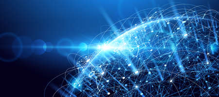 technology: fundo da rede global. ponto de mapa do mundo, significado internacional.