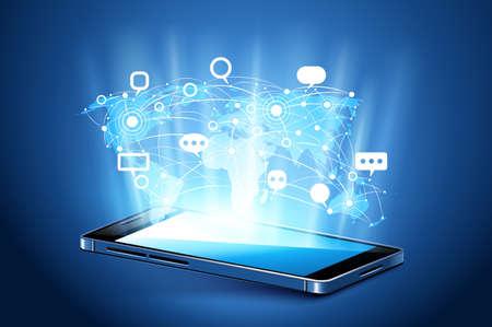 Moderne Kommunikationstechnik mit Handy. Illustration Standard-Bild - 56768621