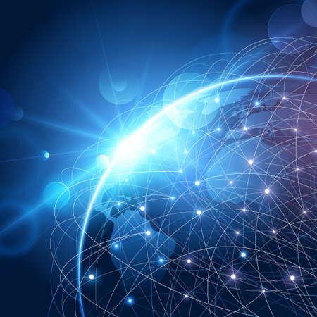 Globales Netzwerk Hintergrund. Weltkarte Punkt, internationale Bedeutung. Illustration Standard-Bild - 56768619