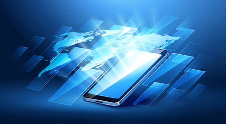 mobile communication: Modern communication technology with mobile phone. illustration