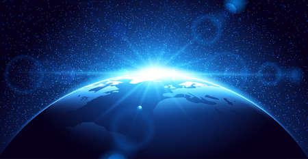 Planet Erde mit Sonnenaufgang im Raum. Raum Hintergrund Vektorgrafik