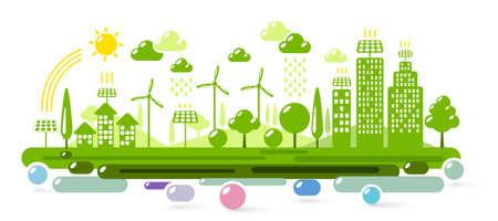Green eco city. Ecology concept illustration
