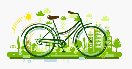 Bicycle with green eco city. Ecology concept illustration Stock Illustratie