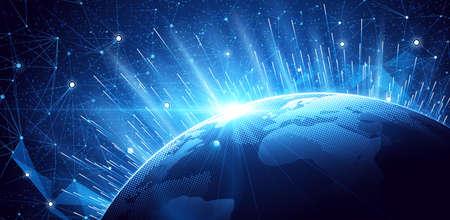 Globales Netzwerk Hintergrund. Weltkarte Punkt, internationale Bedeutung. Illustration Standard-Bild - 56768632
