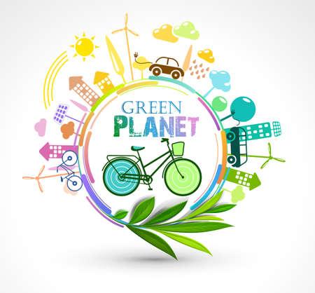 tree design: Green Eco Planet. Ecology colour concept illustration