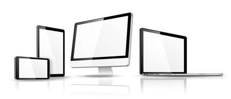 computer screen: Modern device template isolated on white with reflection. illustration