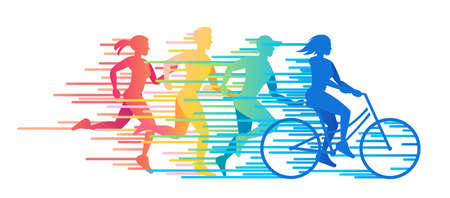 run: Group of people involved in sports. Time for sports vector color illustration Illustration